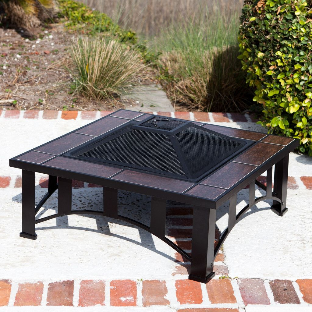 Fire Sense Square Steel Fire Pit Tuscan Tile Wood