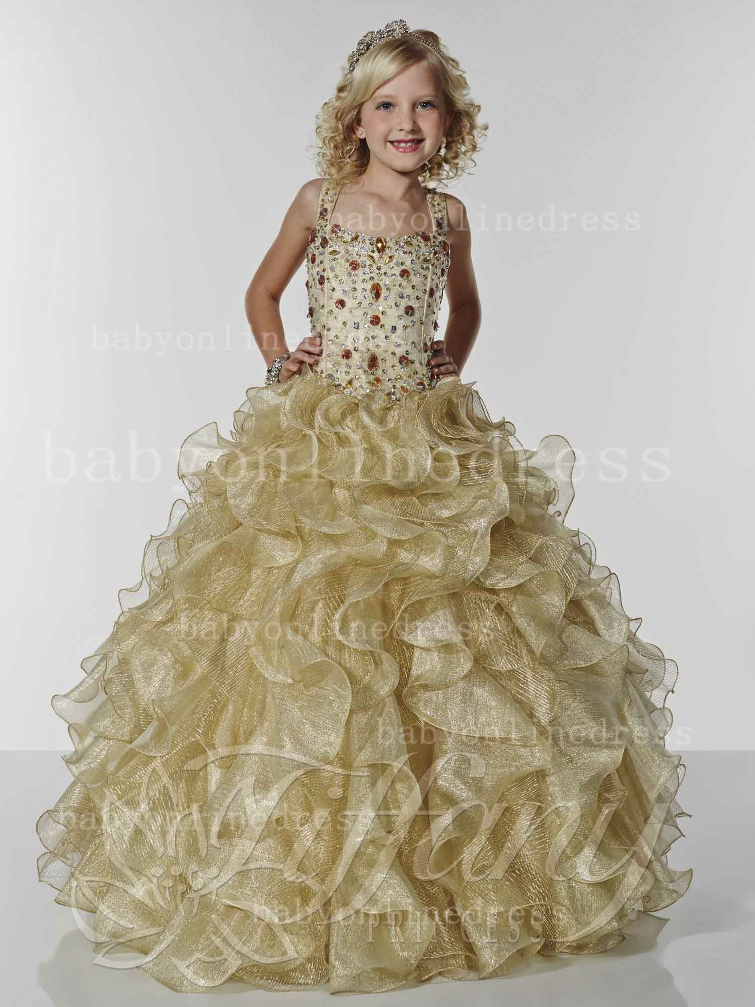Girls Pageant Dresses For Sale Designer 2014 Straps Crystal Ball ...
