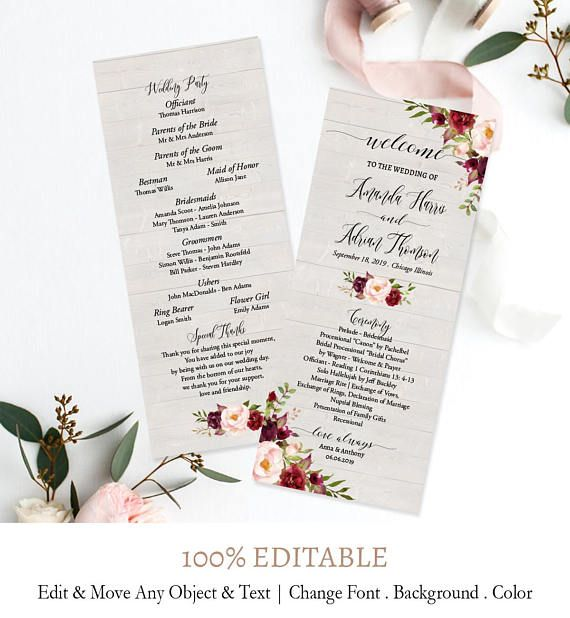 vintage wedding programs