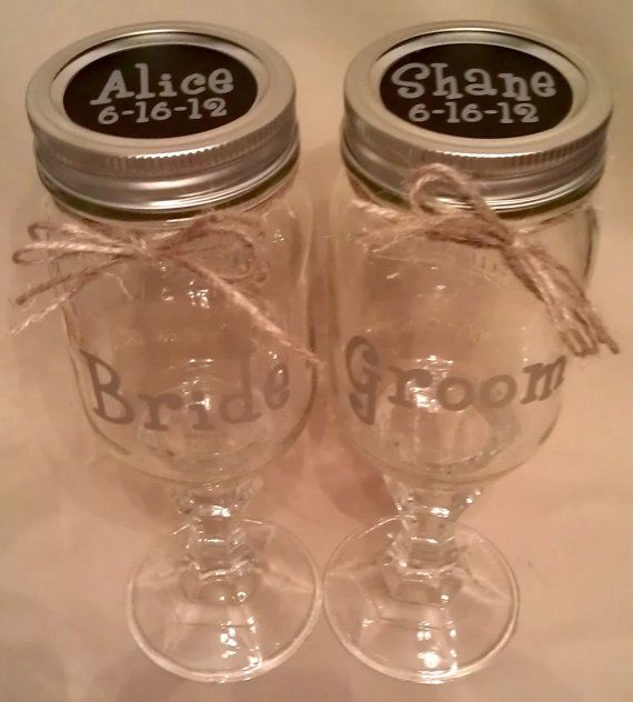 Custom Bride Groom Redneck Wine Gl With Names Wedding Date On The Top