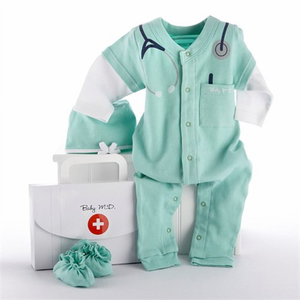 """Big Dreamzzz Baby M.D. Three-Piece Layette Set in """"Doctor's Bag"""" Gift Box - Be the talk at your next Baby shower with this adorable baby shower gift set!  Sure to be a crowd pleaser and smile maker for the parents to be!  http://www.cuddleskidsbedding.com/big-drmz-doctor-giftset.html"""