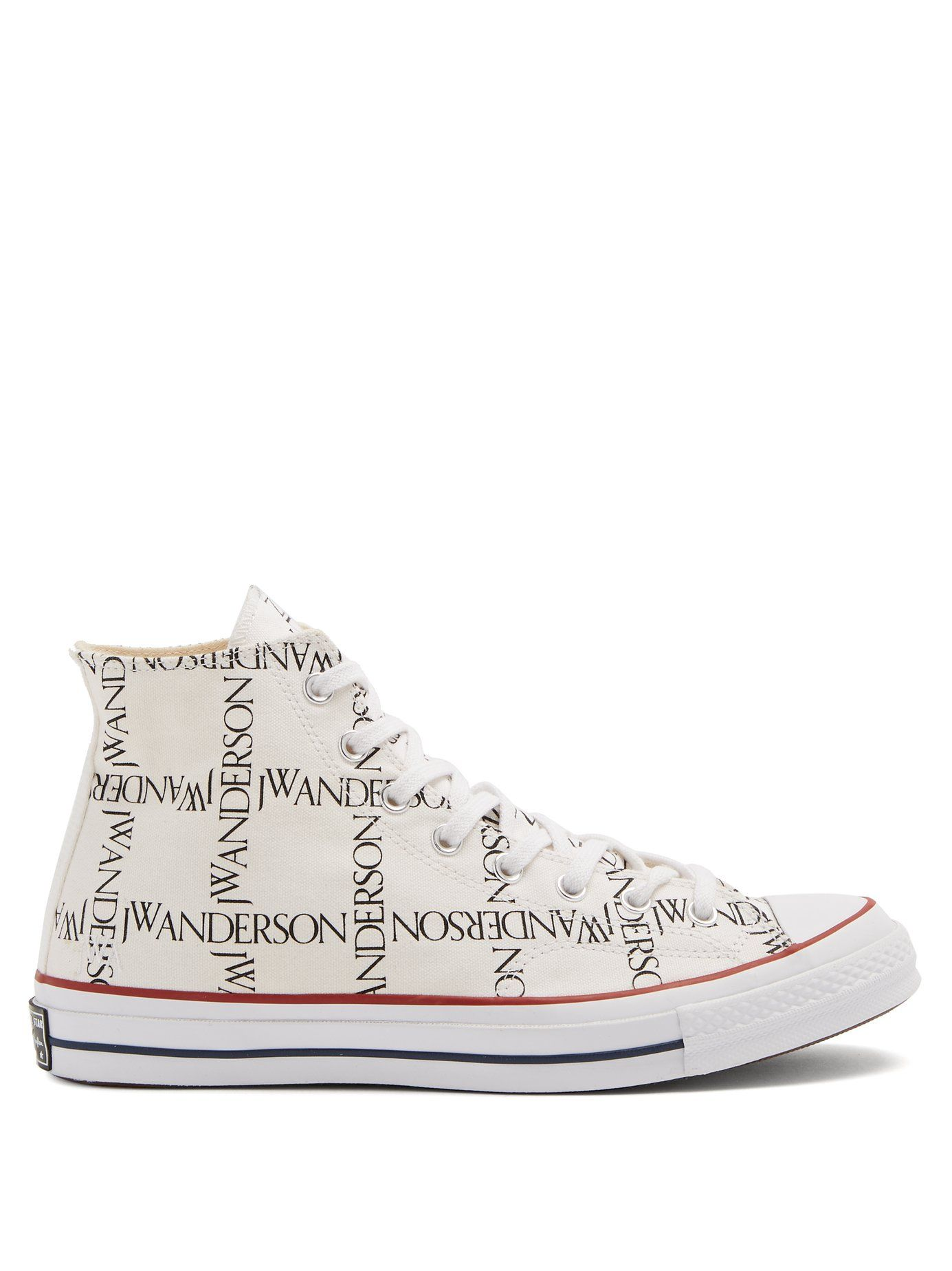 CONVERSE X JW ANDERSON X JW ANDERSON LOGO-PRINT HIGH-TOP TRAINERS.   conversexjwanderson  cloth   116cc26a9