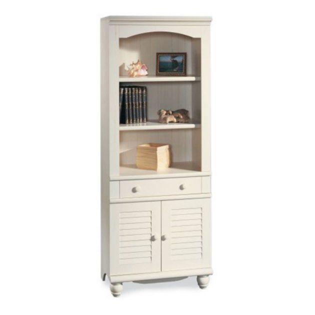 Best Sauder Harbor View Bookcase With Doors Antique White 640 x 480