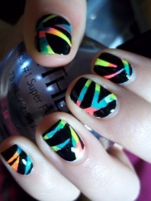 Rainbow Nails Rainbownailpolishstripesartcreativedesign