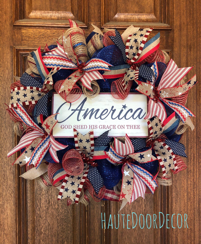 America deco mesh wreath, patriotic mesh wreath, summer deco mesh wreath, front door wreath, haute door decor, front door decor, Americana