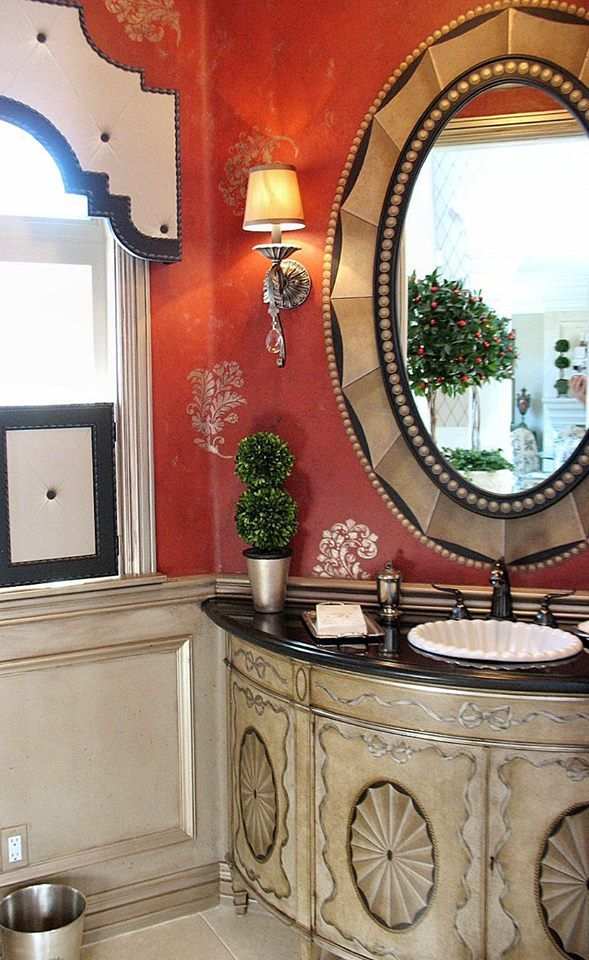 Modern Masters Warm Silver Metallic Paint Stenciled On Powder Bath Walls  And Used As A Glaze For Panels | By Jeff Raum Studios ...