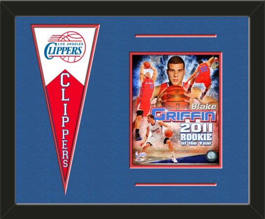 One framed 8 x 10 inch Los Angeles Clippers photo of Blake Griffin with a Los Angeles Clippers mini felt banner, double matted in team colors to 20 x 16 inches.  The lines show the bottom mat color.  (Pennant design subject to change)  $79.99 @ ArtandMore.com