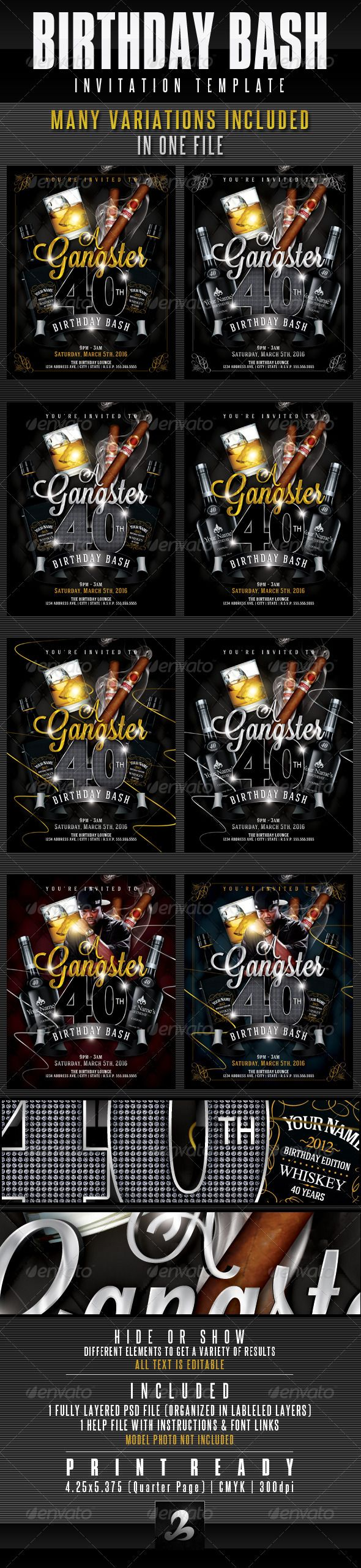 Birthday Invitation Template Gangster Style Pt Birthday - Birthday invitation template graphicriver