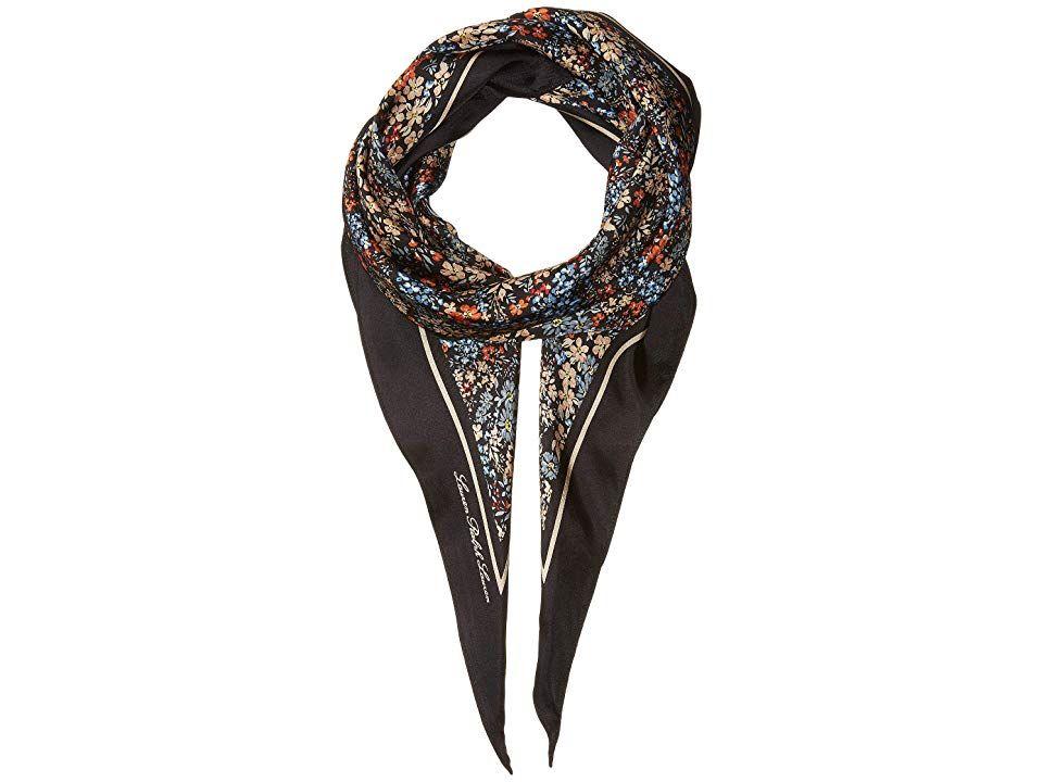 0d440b35370e LAUREN Ralph Lauren Ksenia (Black) Scarves. Pair any look with this chic  Lauren Ralph Lauren Ksenia scarf. Silk diamond scarf with floral design.