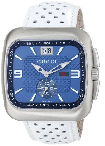 b49f0ac2520 Gucci Men s YA131304 Gucci Coupé BlueBlack Dial White Leather Watch ...