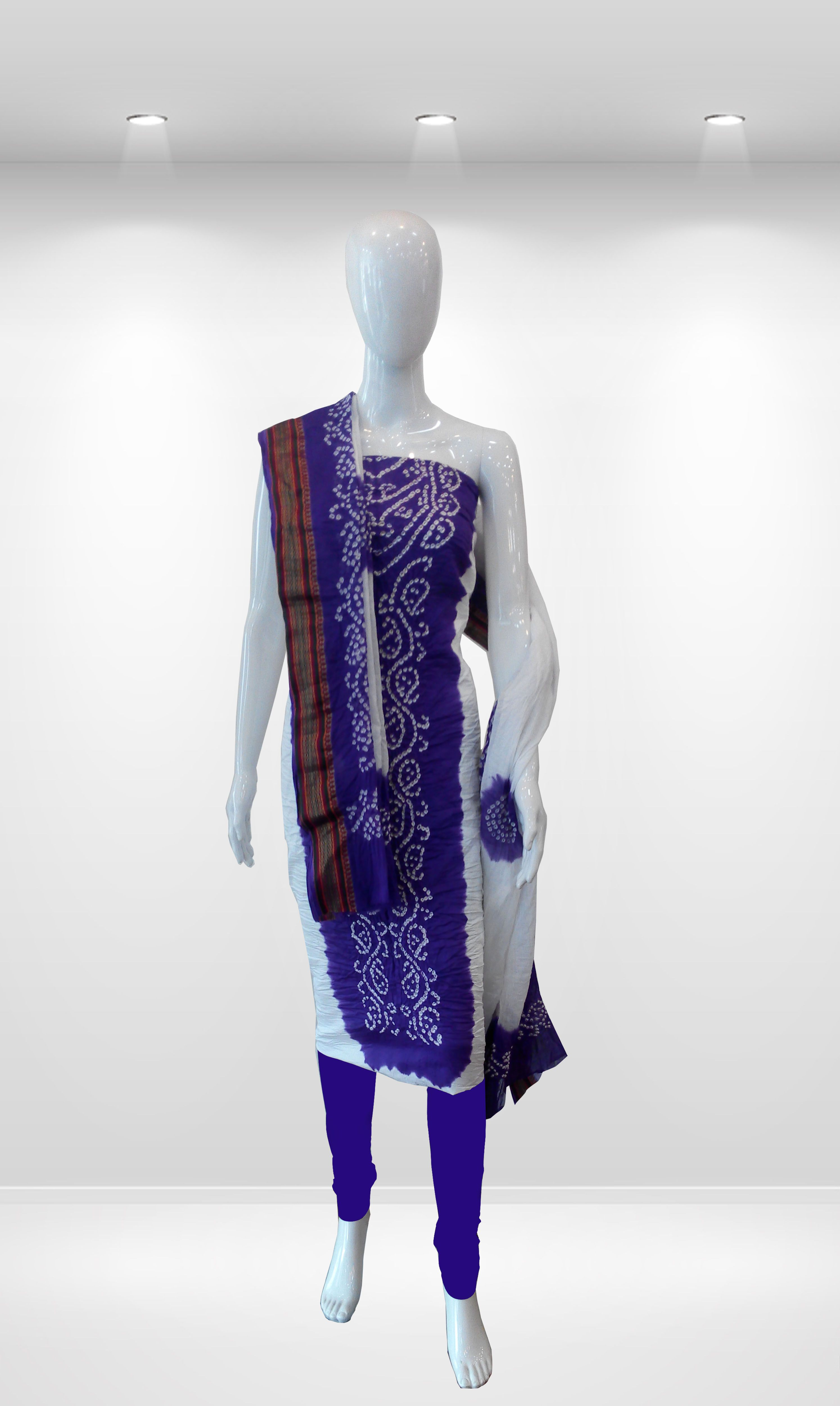 Beautiful Bandhani Panel Dress Material Elegant white & Bright Purple color  Combination. Small Bandhej Handmade