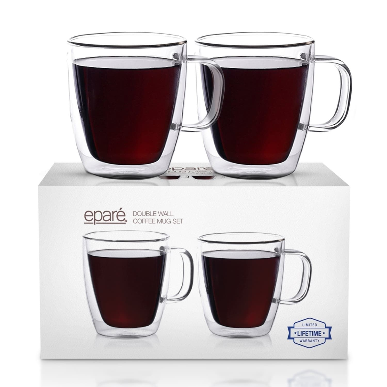 Epare Coffee Mugs Clear Glass Double Wall Cup Set
