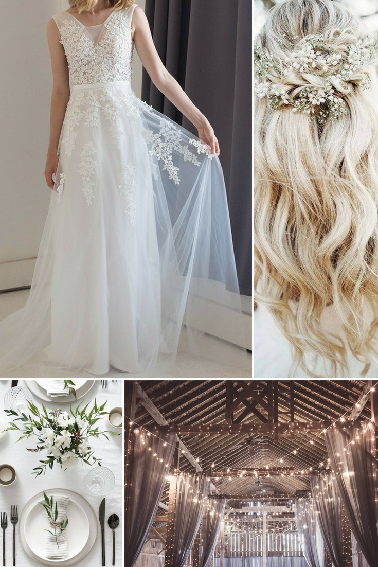 Harper sleeveless embroidered tulle wedding dress in ivory in