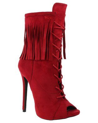 Claim the spotlight with this Lassie Ankle Boot by Plum and be diva that you truly are. This red boot features a lace-up front, peep-toeand fringe design to add a showstopper effect.Pair these heels with black leather leggings and an over sized tee for a ultra-glam casual look.