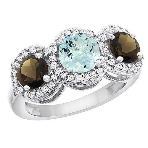 10K White Gold Natural Aquamarine & Smoky Topaz Sides Round 3-stone Ring Diamond Accents, size 5, Women's