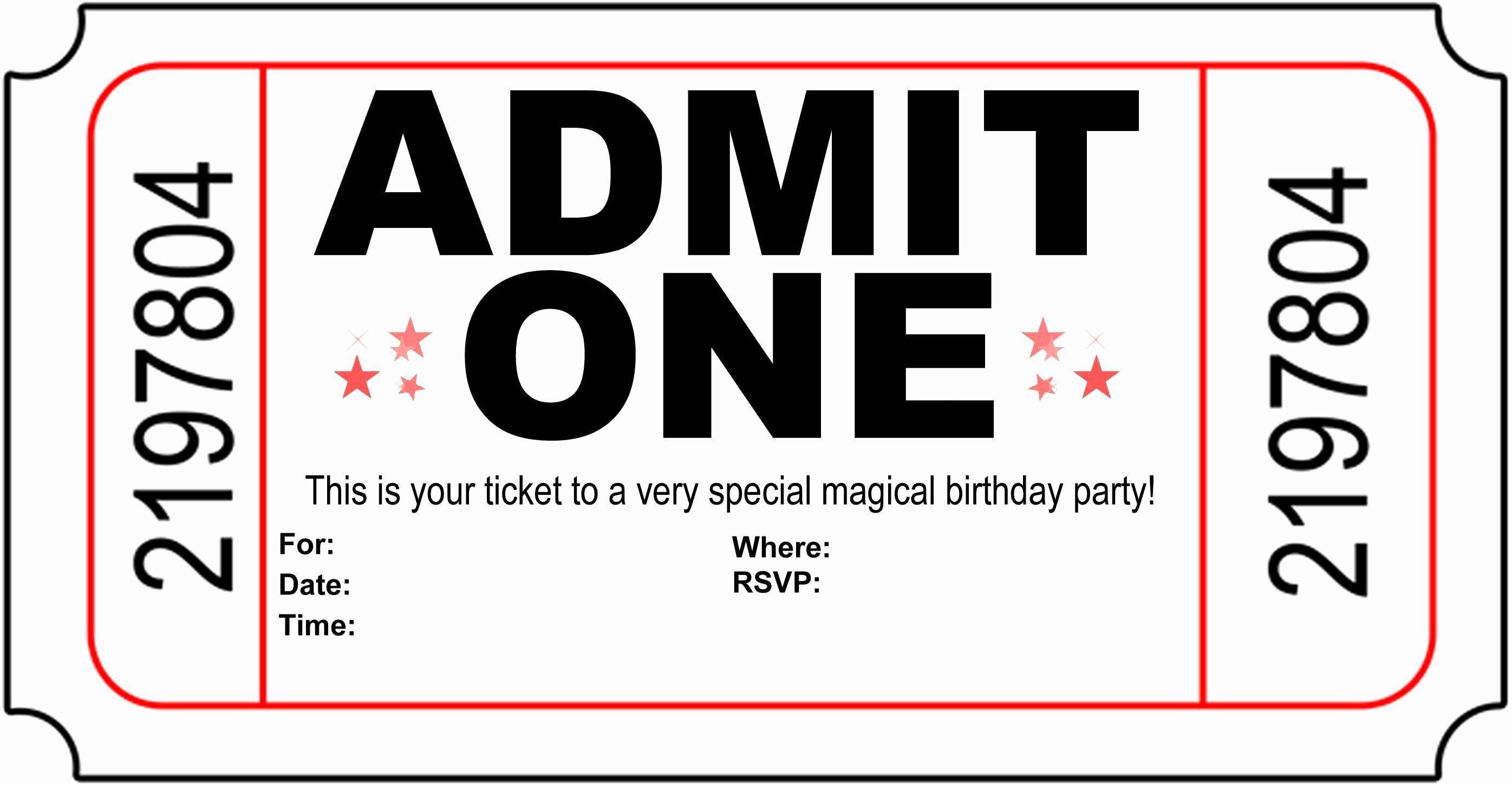 Ticket Invitation Template Free Elegant Free Printable Birthday Invitati In 2020 Free Party Invitations Birthday Party Invitations Free Free Party Invitation Templates