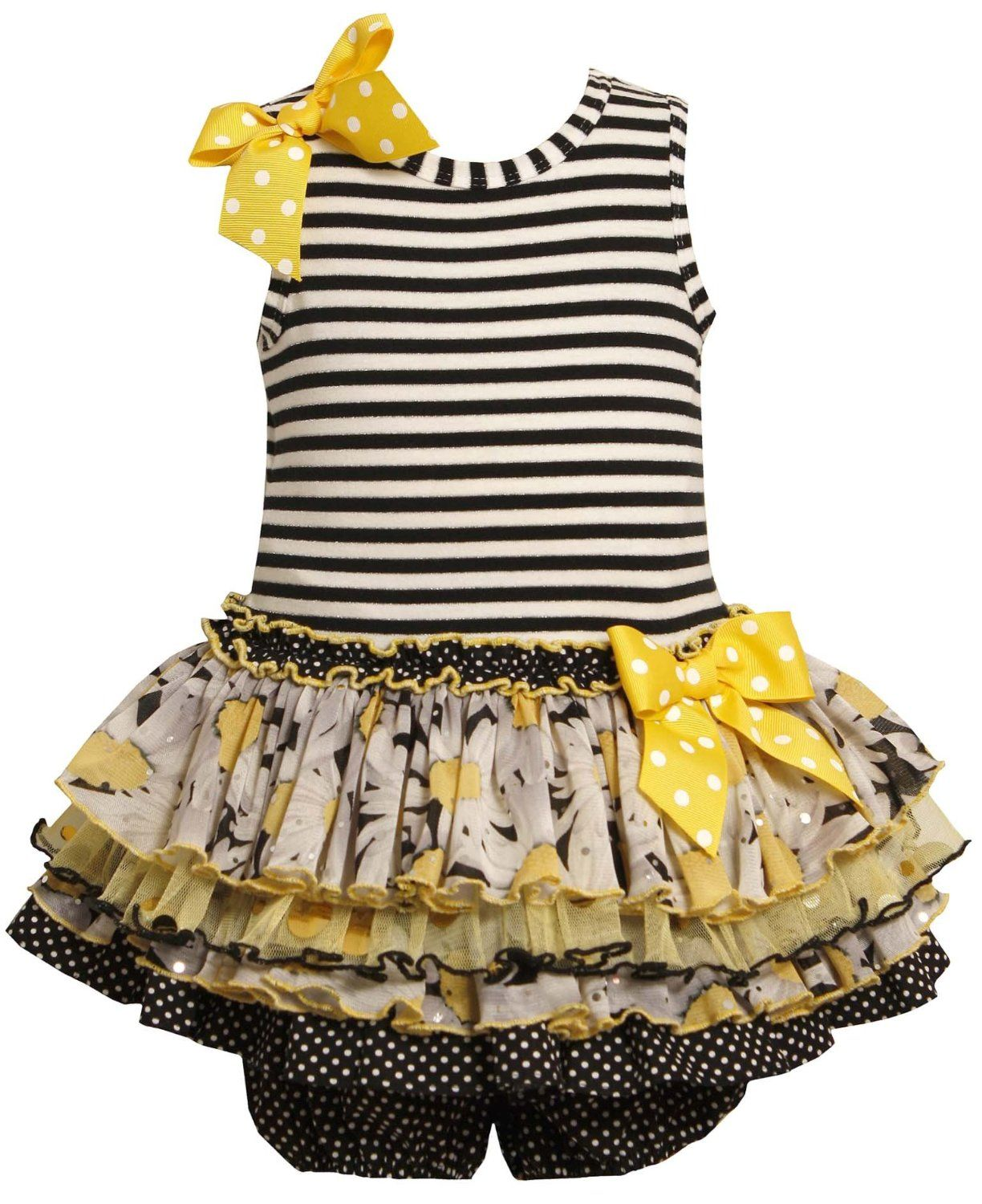 3f585cfddb80 Bonnie Jean Baby-Infant 12M-24M 2-Piece Striped Knit to Multi Tiered ...