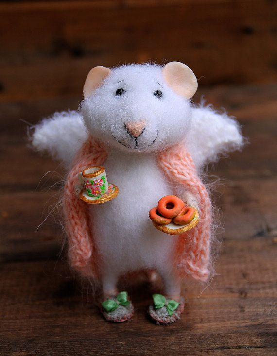 Needle Felt Mouse Angel Of Home In A Blanket With Cup And