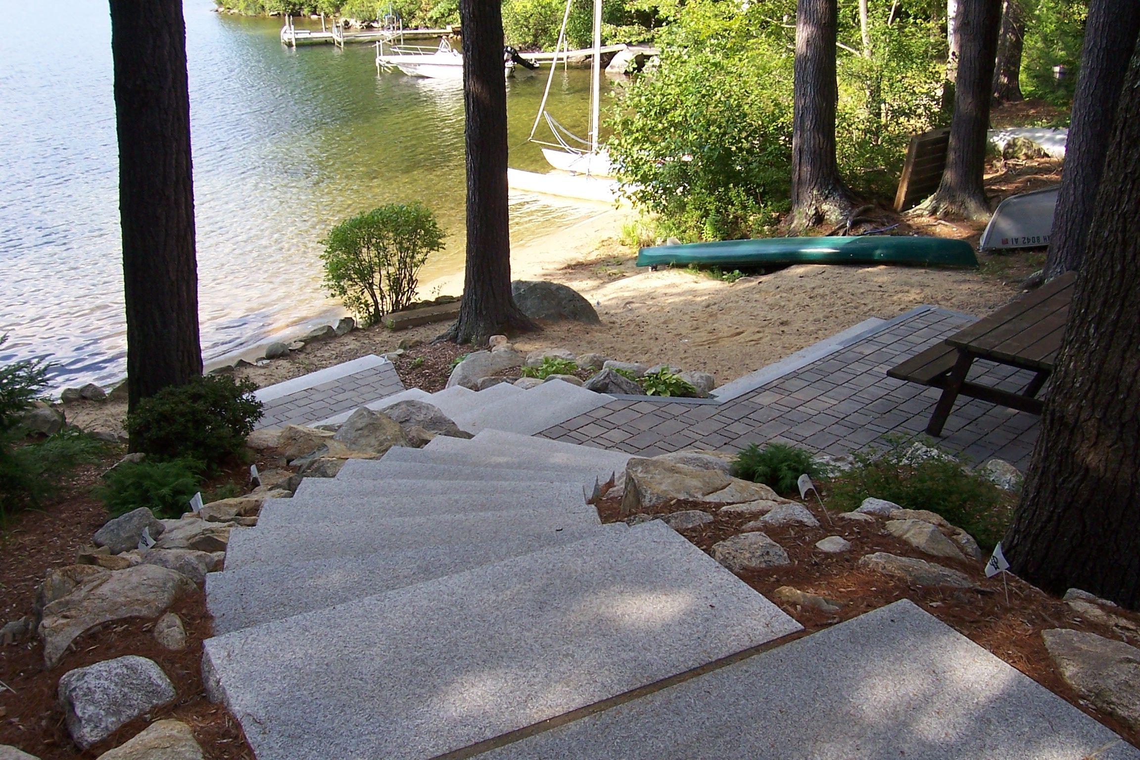 paver patio with granite steps