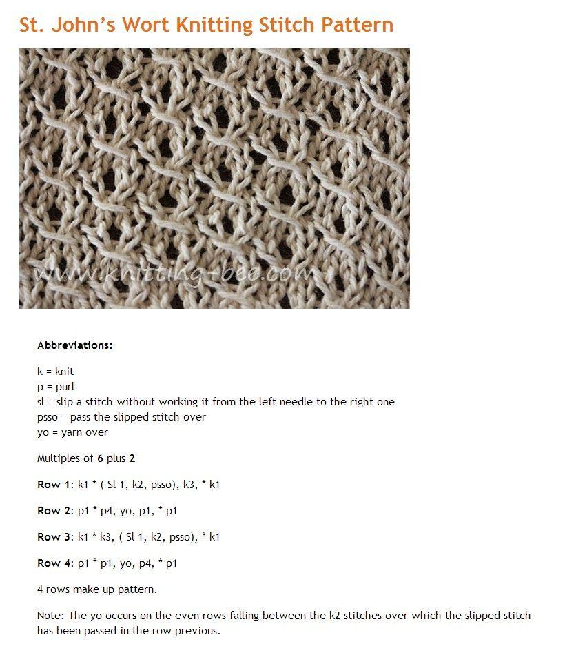 St. John\'s wort knitting stitch pattern | Stitch, Saints and ...
