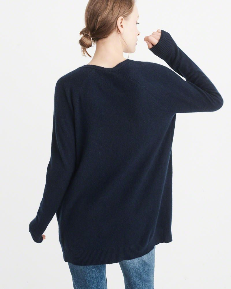 A&F Women's Icon Cashmere Cardigan in Navy Blue - Size S ...