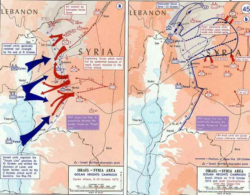 Map of The Golan Heights Campaign in