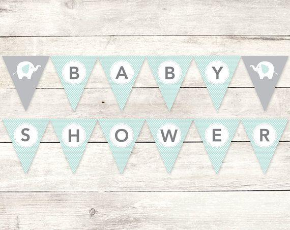 baby shower banner printable DIY bunting banner elephant sage ...
