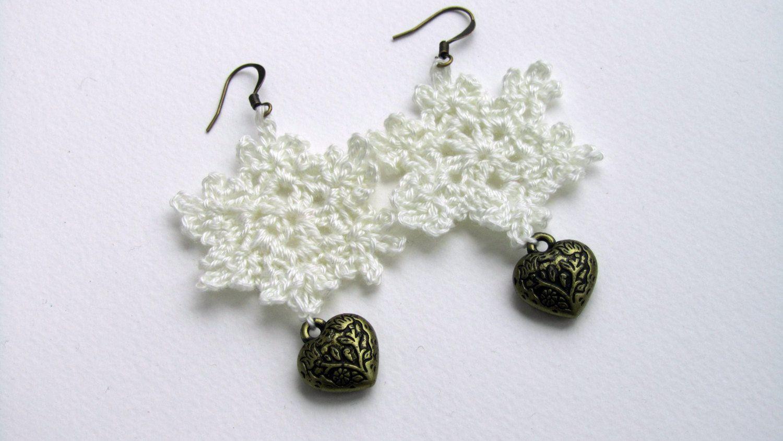 Handmade Jewelry, unique gift , white crochet earrings, cotton star earring, heart by ViktoriaCrochet on Etsy