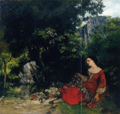 Woman with Garland - Gustave Courbet