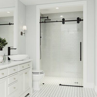 Photo of VIGO Elan 68″ W x 74″ H Single Sliding Frameless Shower Door with RollerDisk™ Technology Finish: Black