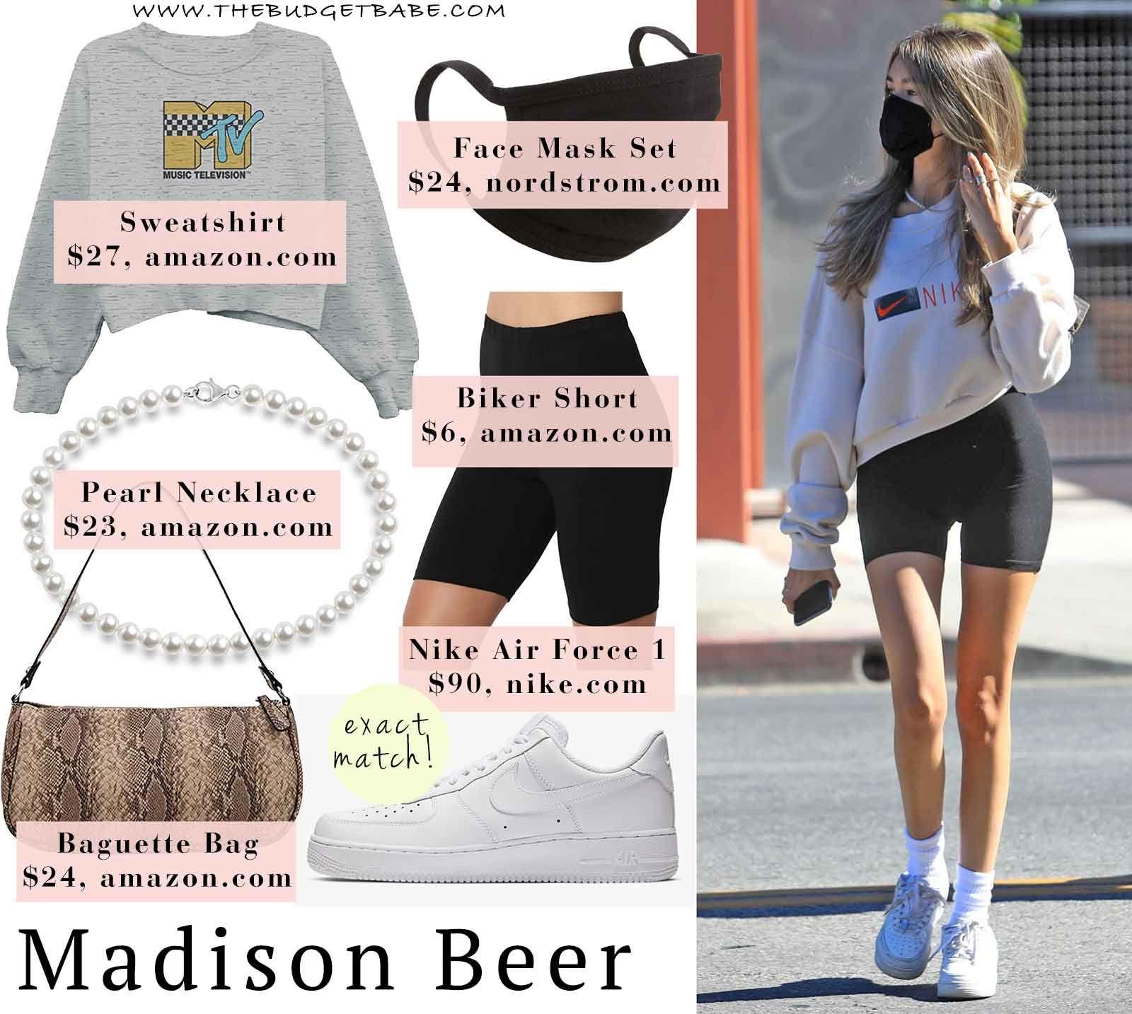 Madison Beer S Nike Sweatshirt And Biker Shorts Biker Shorts Nike Sweatshirts Celebrity Look [ 1434 x 1600 Pixel ]