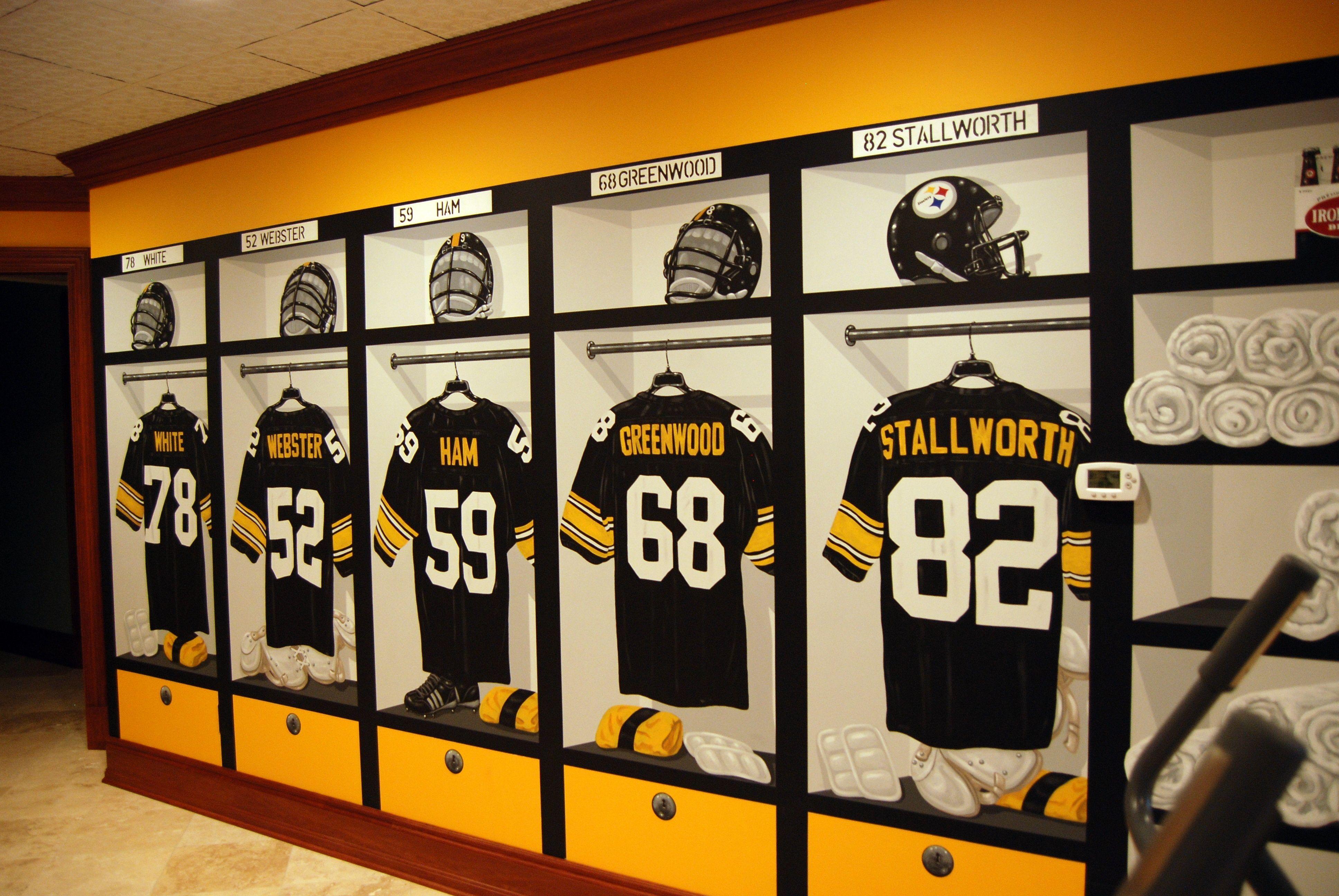 Steelers Bedroom Pittsburgh Steelers 1970s Locker Room Mural By Tom Taylor Of Wow