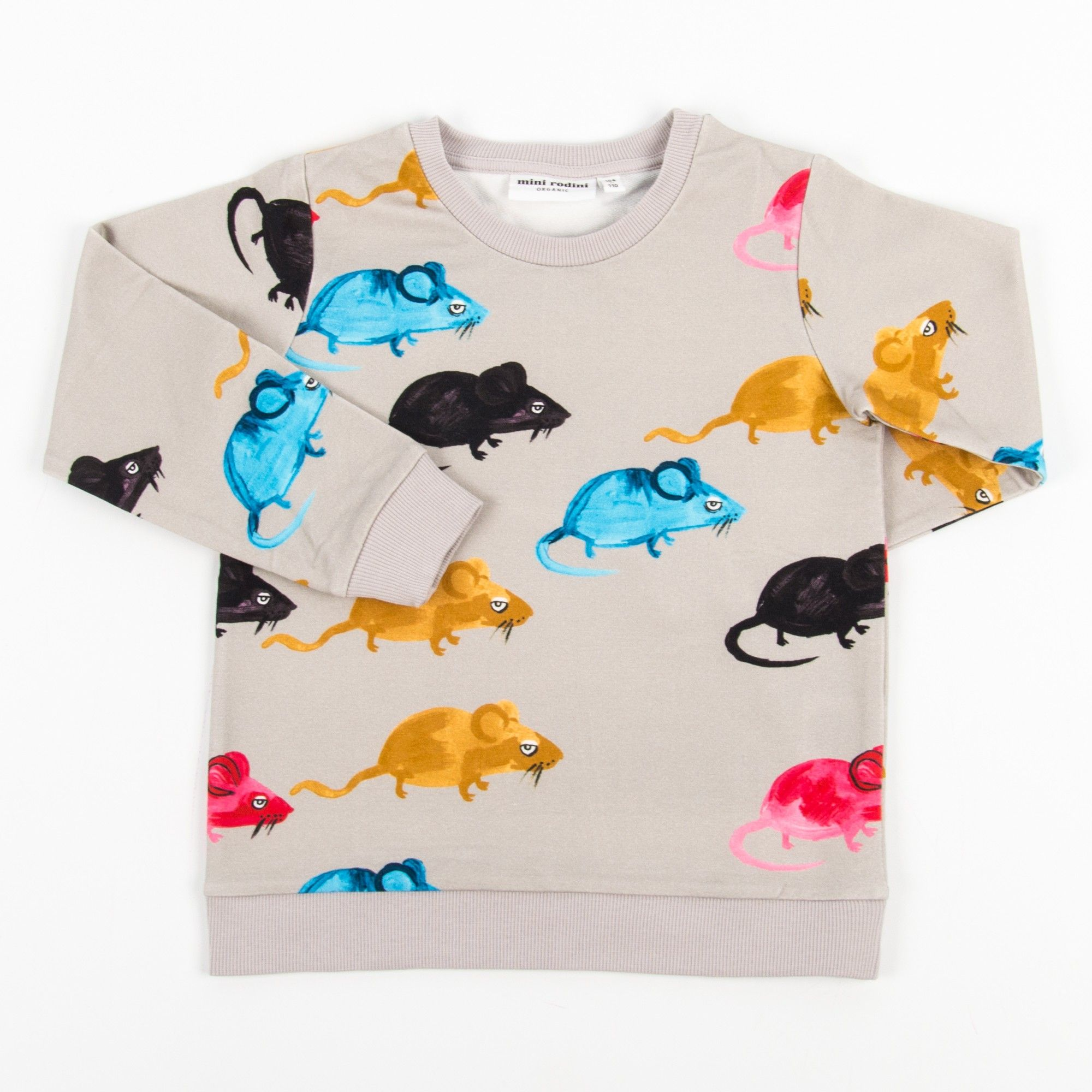Mini Rodini Mr Mouse Light Gray Sweatshirt With Mouse Print