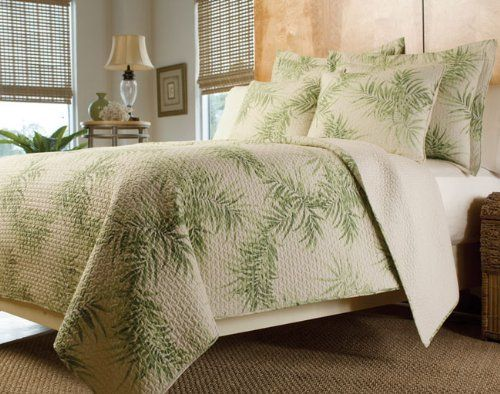 Bed Quilt Queen Tropical | Tropical Palm Tree Green Cream Bedding Quilt Set  Full/Queen