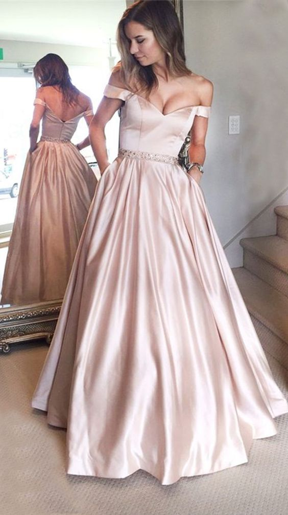 e2c722cd71 A-Line Off-the-Shoulder Pearl Pink Prom Dress with Beading Pockets ...