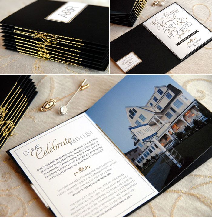 Black and Gold - Love it --- Destination wedding invitation booklets ...