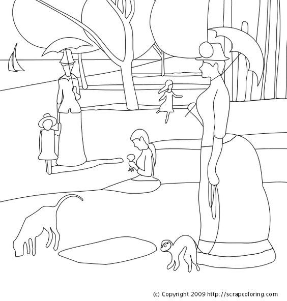 Sunday afternoon on the island of la grande jatte for Seurat coloring pages