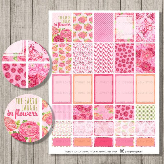 Happy Planner Printable Planner Stickers, Floral Planner Kit, Mambi Printable Stickers, Spring Planner, Happy Planner PDF, HP119