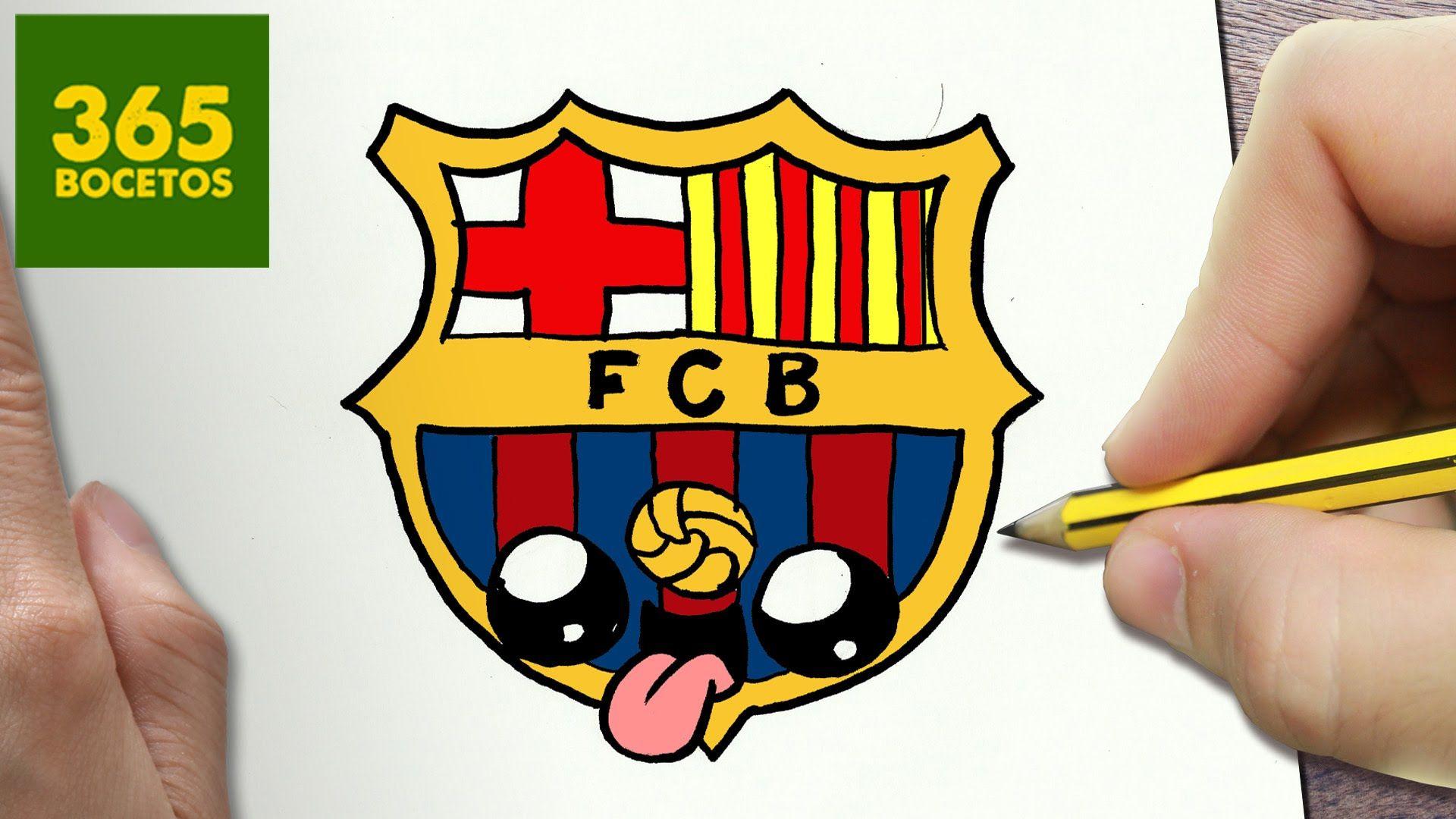 Como Dibujar Escudo De Barcelona Kawaii Paso A Paso
