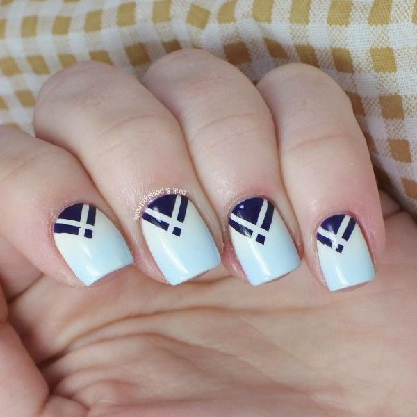Appealing White Nail Art Design Idea With Blue Triangle Motif For ...