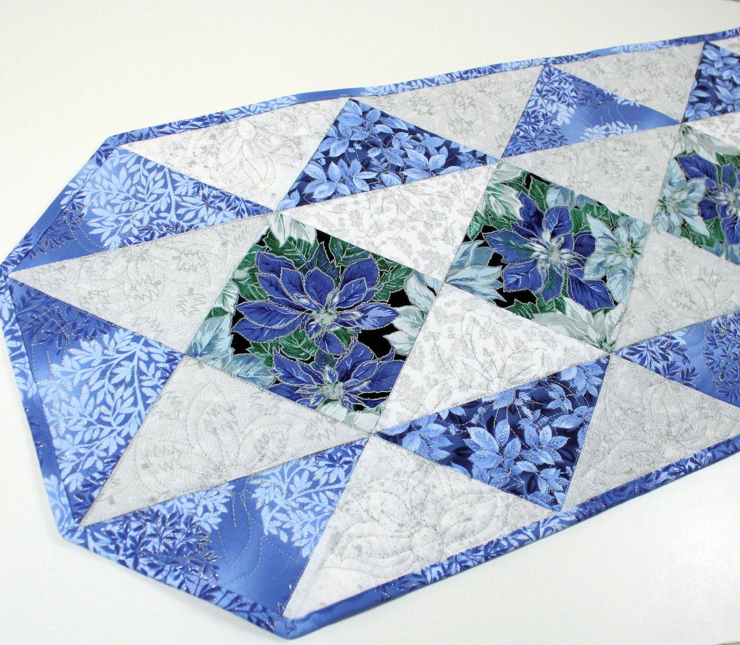 Quilted Christmas Table Runner Blue Silver And White