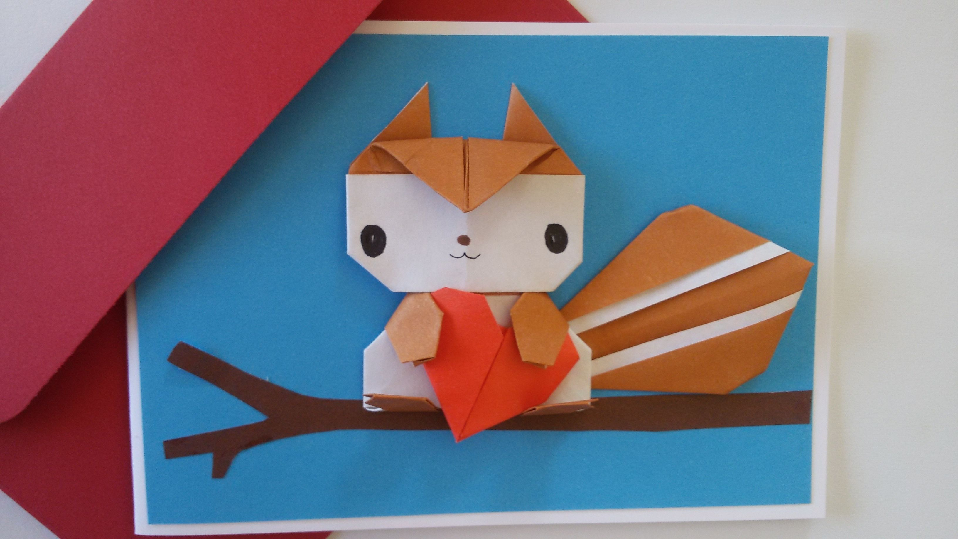 Origami love card by jollycards etsy international sale funny boyfriend birthday origami squirrel pop up blank card handmade paper squirrel card fathers day card girlfriend birthday card jeuxipadfo Image collections