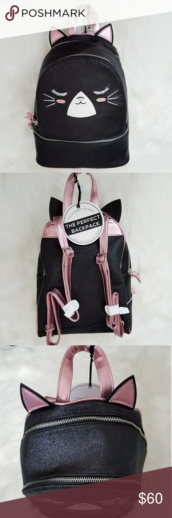 Black Glitter Kitty Backpack Under One Sky Pink New with
