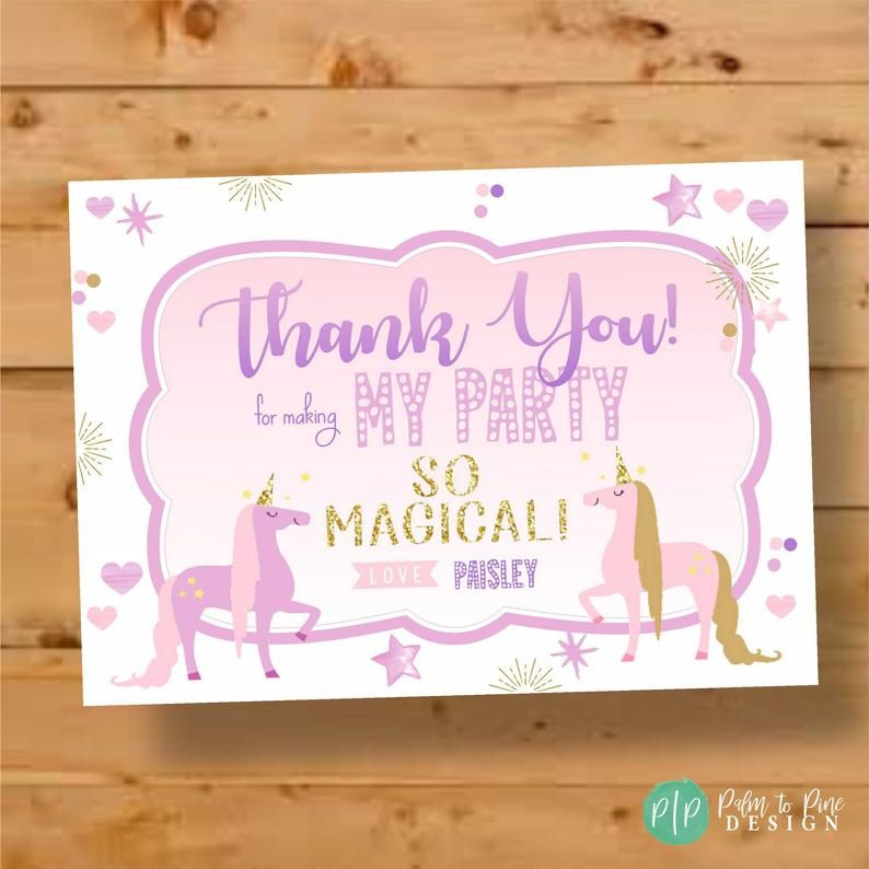 this pastel watercolor rainbow unicorn thank you card is