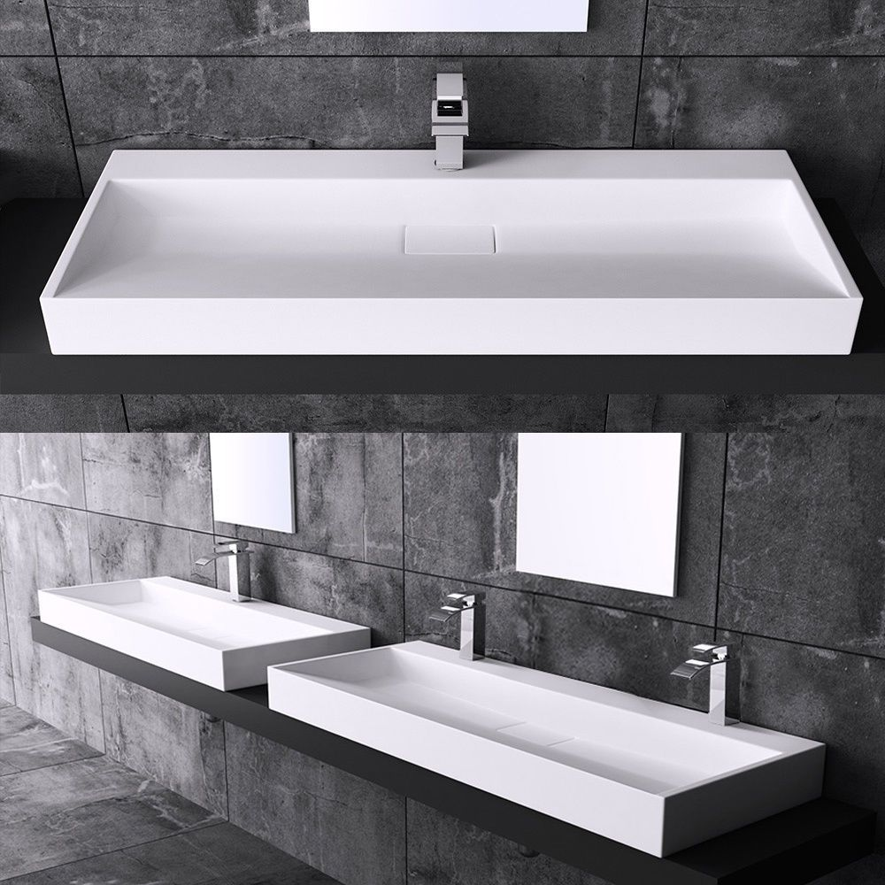 Fine fixtures milan wood white small corner bathroom vanity ebay - Bathroom Rectangle Square Stone Wall Mounted Or Countertop Wash Basin Sink D819