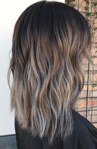Brunette Hair Color Idea Ash And Silver Melt Hair