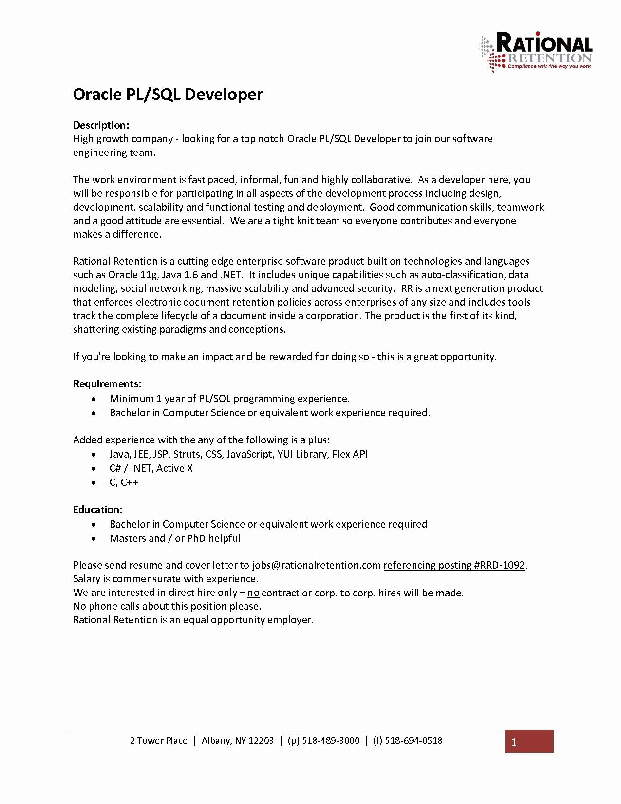 Resume Example 1 Year Experience A Team