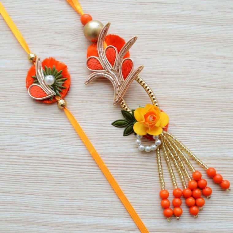 Handmade Kids Rakhi for Brother Bhaiya Bhabhi Raksha Bhandhan Rakhi Thread Bracelet Red Yellow Zardoshi Red Bead Red Thread