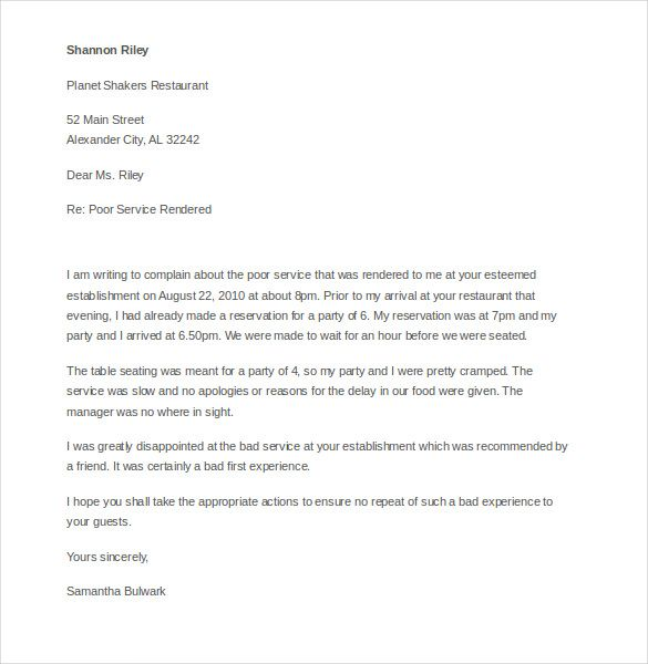 Customer Complaint Letter Template Free Sample Example Format