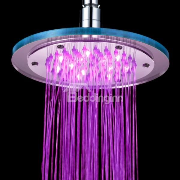 Unique Copper With Organic Glass Colorful Temperature Control Led Changing Color Shower Head Fauc Led Color Changing Lights Led Shower Head Ceiling Shower Head